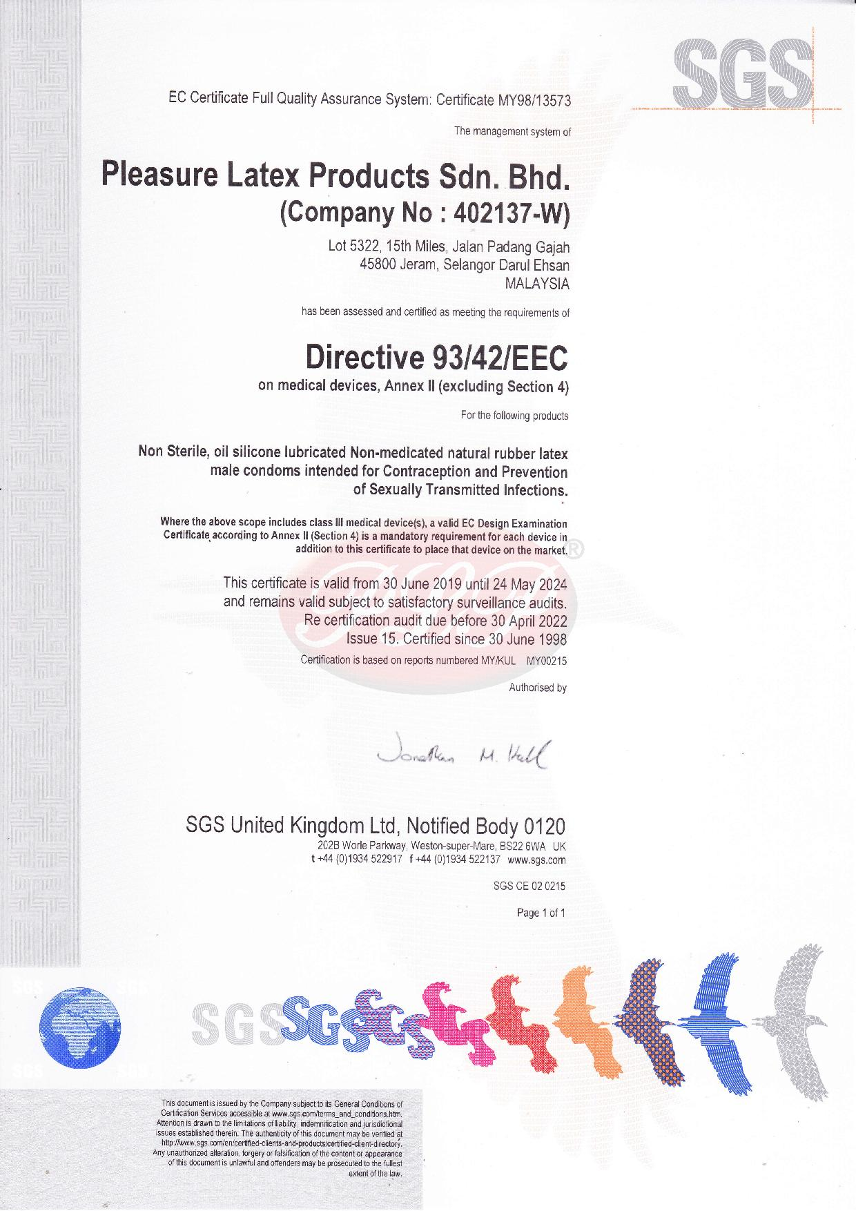 CE Mark Certificate for Male Latex Condom