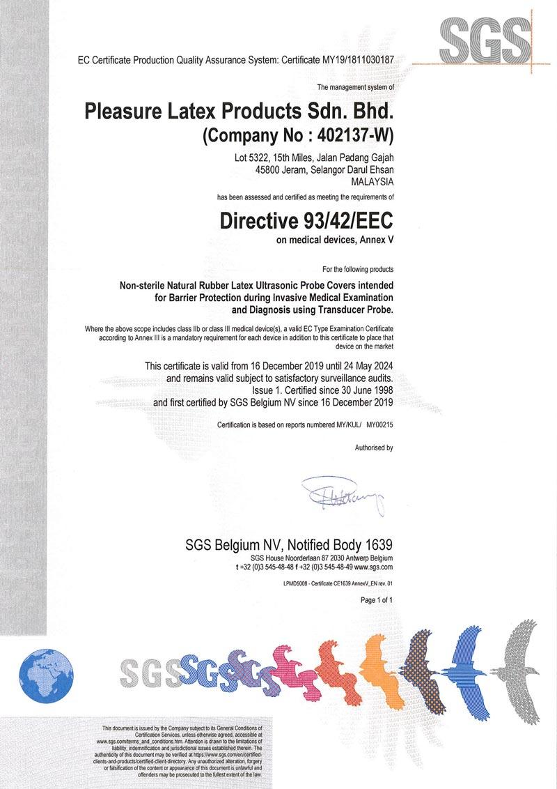 CE Mark Certificate For Ultrasonic Probe Cover