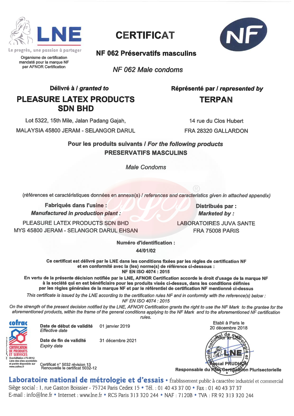 NF Mark Certificate