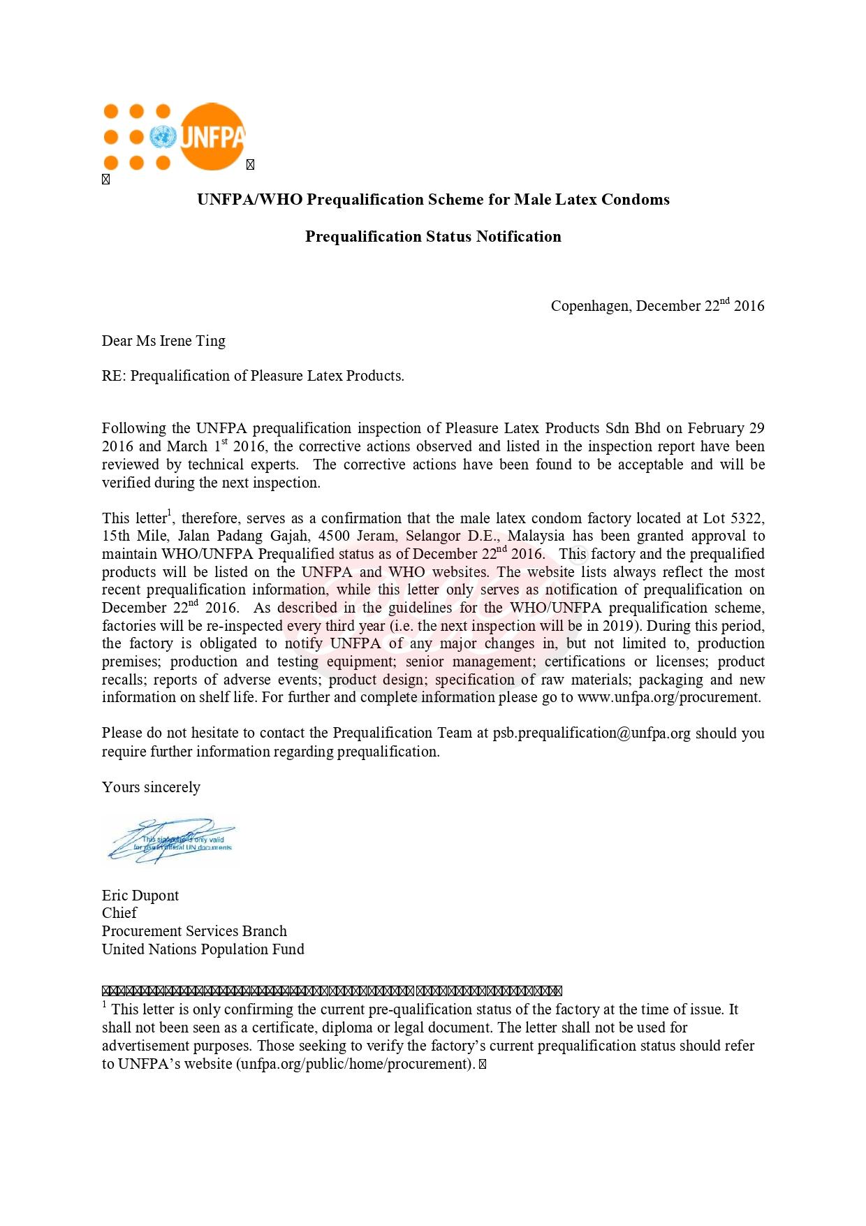 Notice of WHO_UNFPA Prequalification_Pleasure Latex