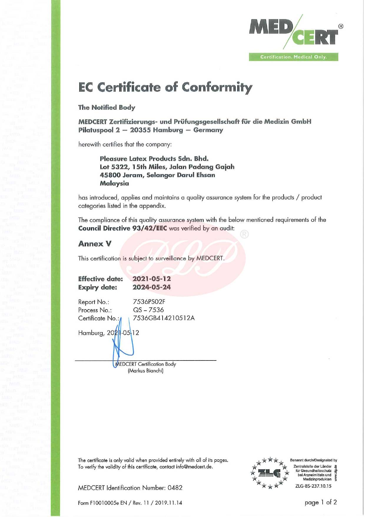 CE Mark certificate for lubricant gel